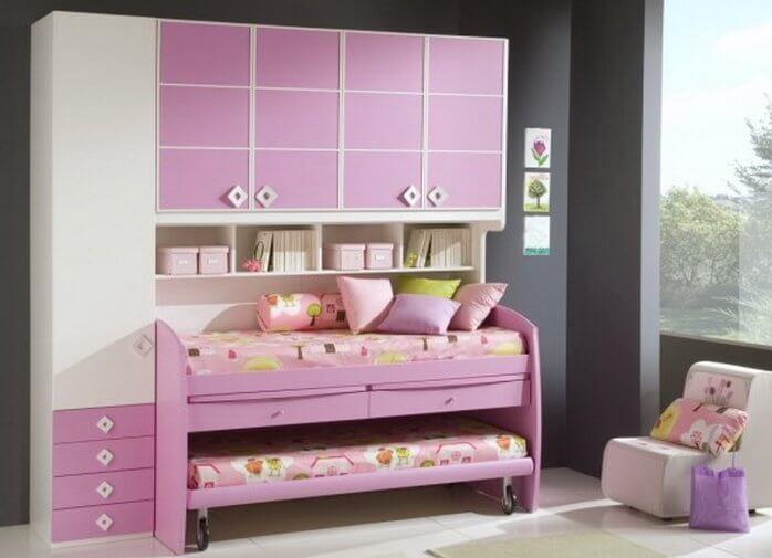 Фото выдвижной двухъярусной кровати для девочек