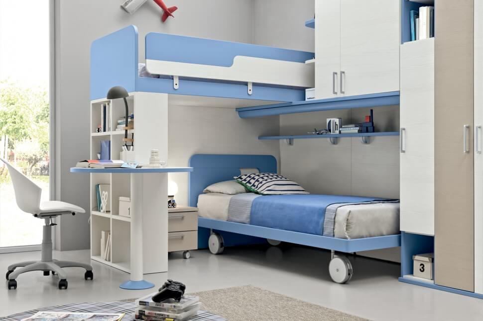 Фото двухъярусной кровати со шкафом