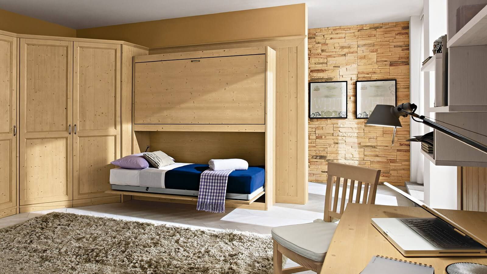 Фото двухъярусной откидной шкаф-кровати