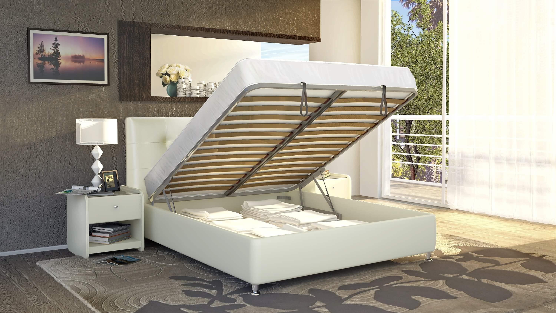 Двуспальная кровать с мягким каркасом и подъемным основанием