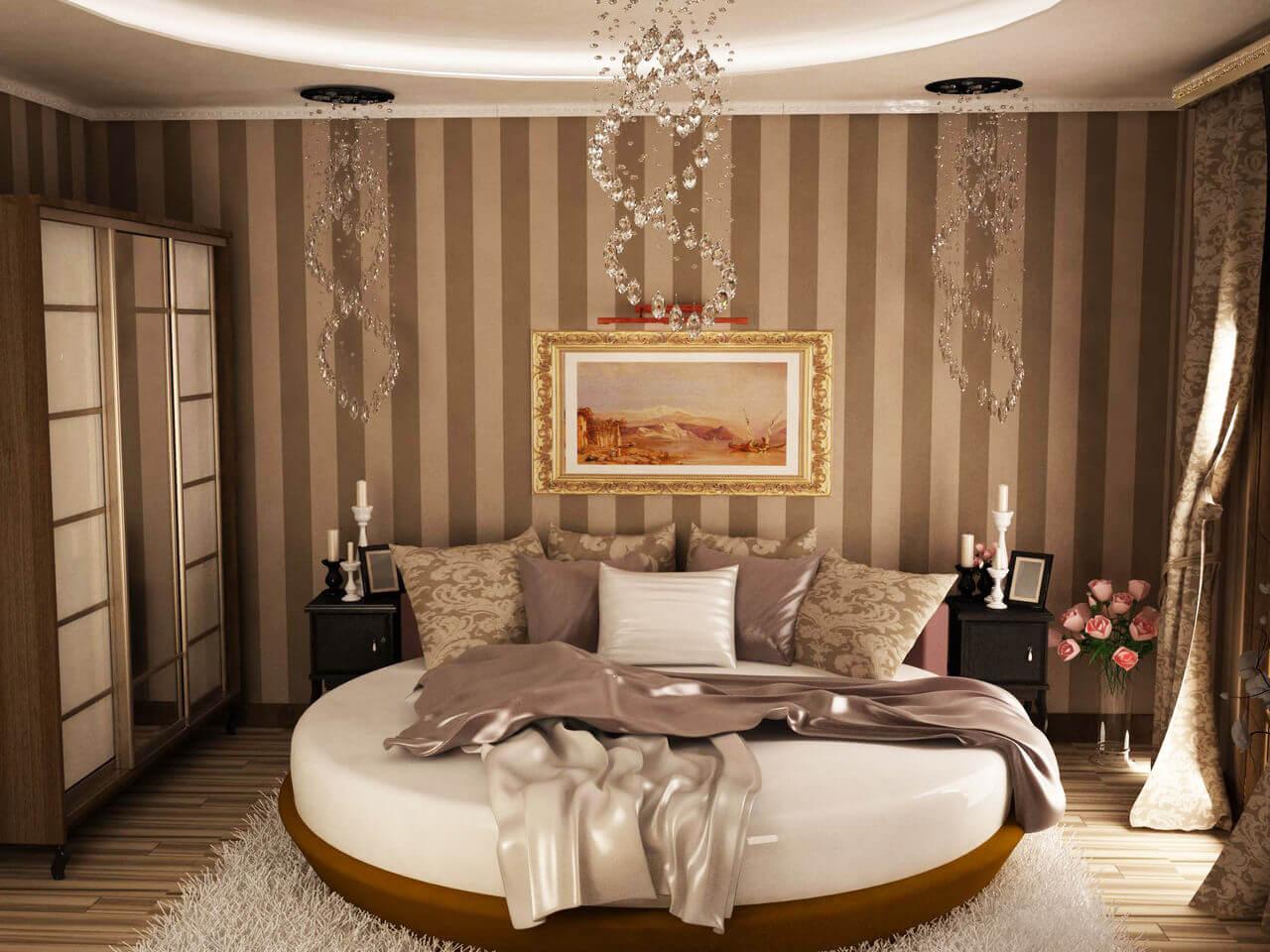 Фото круглой двуспальной кровати