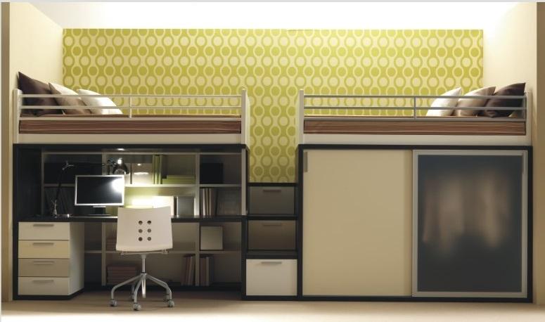 Сдвоенная кровать-чердак со шкафом и рабочей зоной