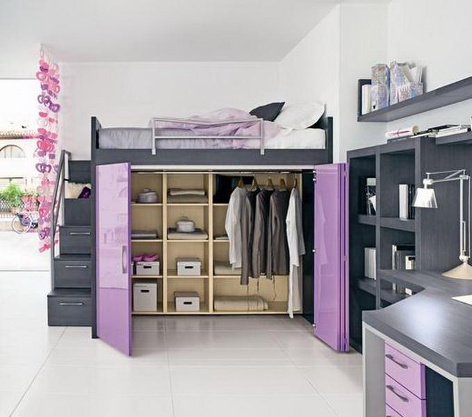 Фото внутреннего наполнения шкафа кровати чердака