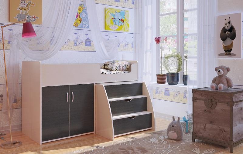 Низкая кровать-чердак со шкафом внизу