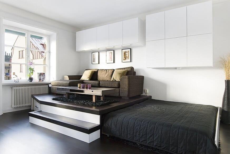 Фото выдвижной кровати в подиуме
