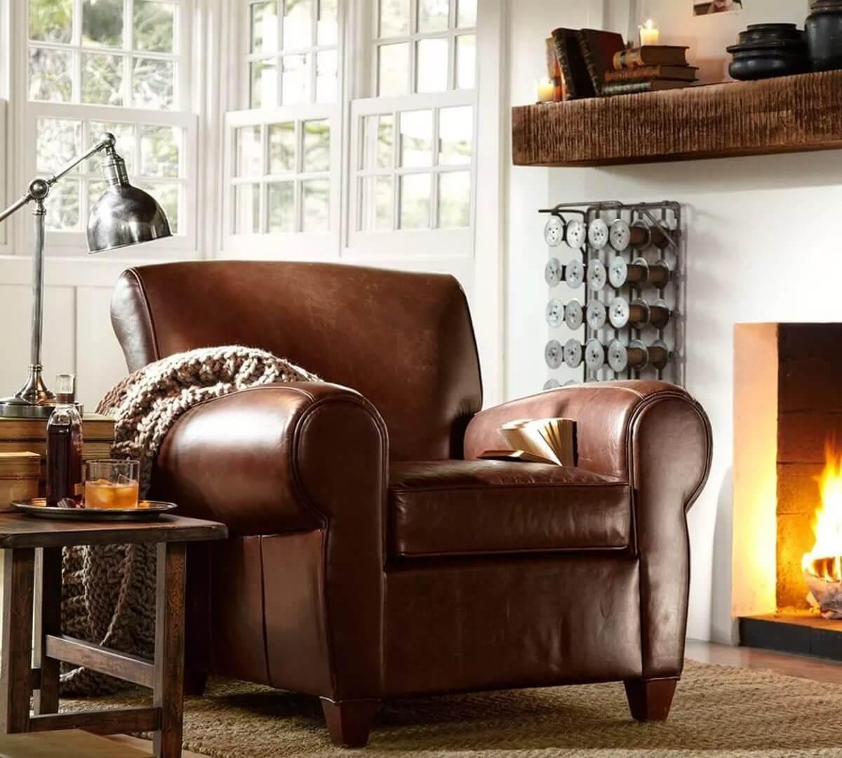 Фото мягкого кожаного кресла