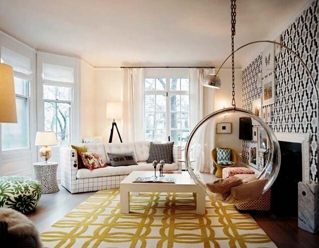 Фото подвесного кресла в интерьере комнаты