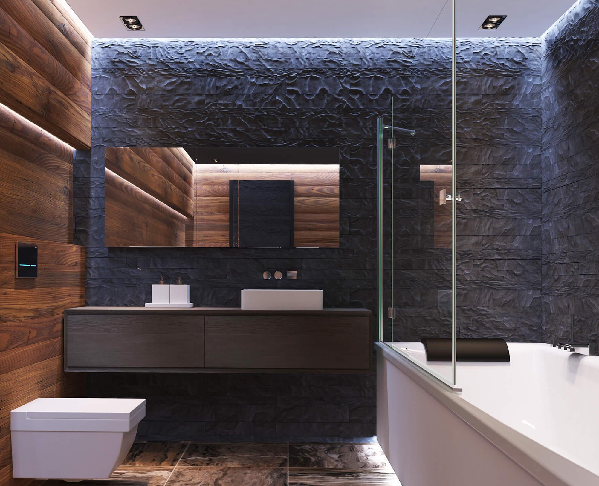 фото ванной в современном стиле с тумбой