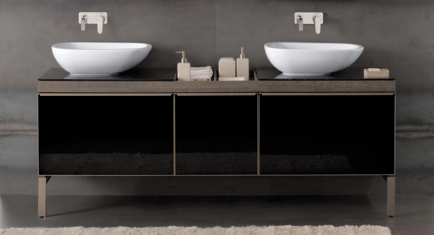 фото тумбы с двумя раковинами в ванной