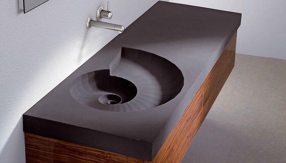 фото тумбы в ванной с необычной раковиной