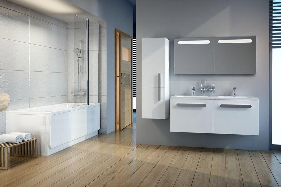 тумба с двойной раковиной в ванной комнате