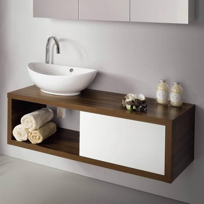 фото тумбы в интерьере ванной со столешницей
