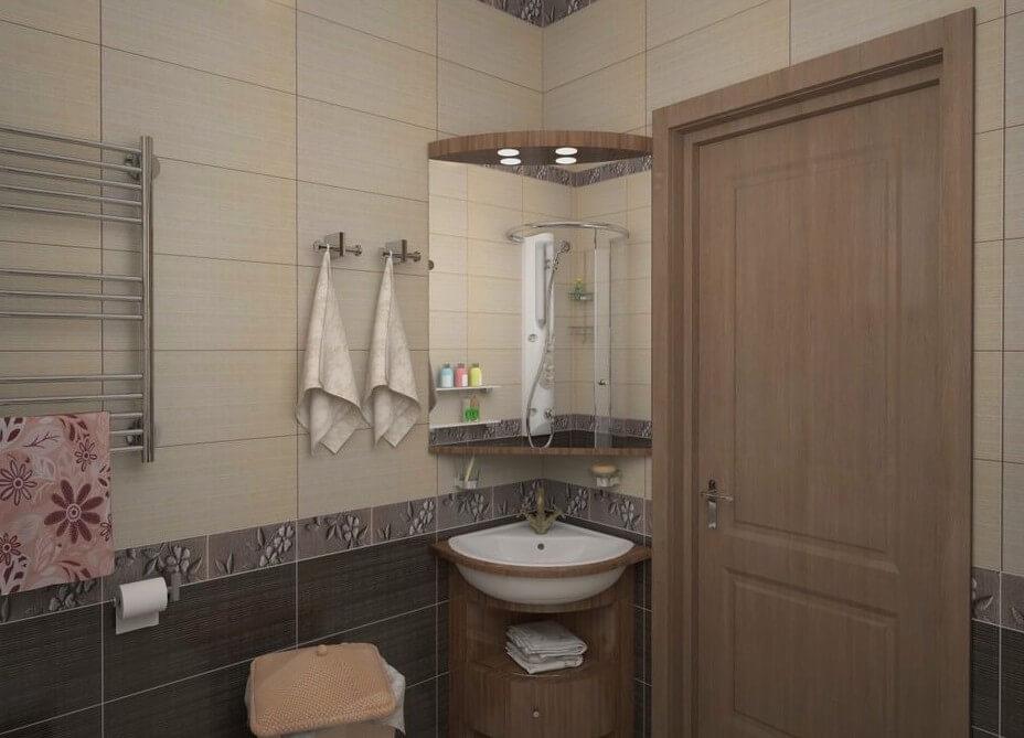 фото угловой раковины в ванной