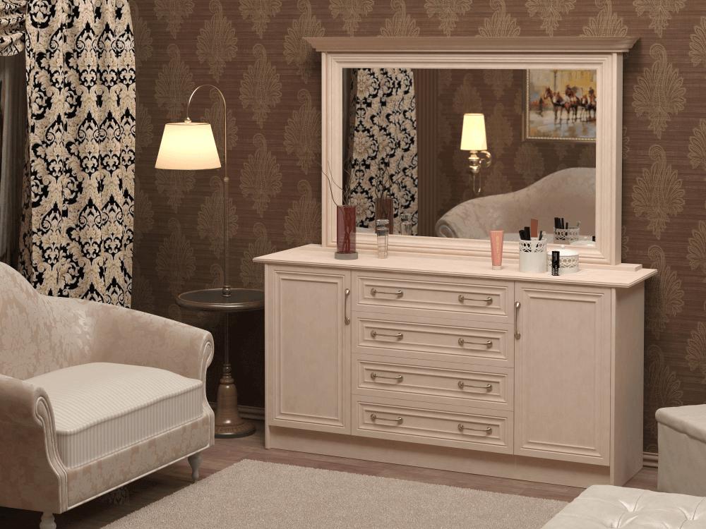 комод с зеркалом в интерьере спальной комнаты