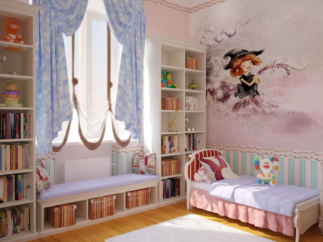 книжный шкаф в детской у окна