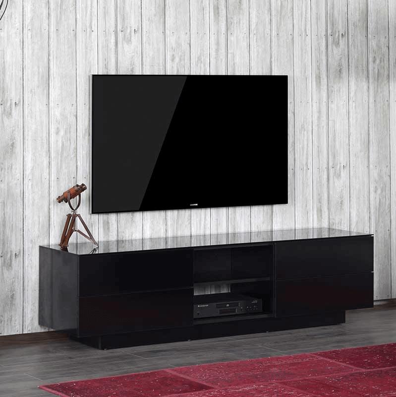 черная стеклянная тумба под ТВ