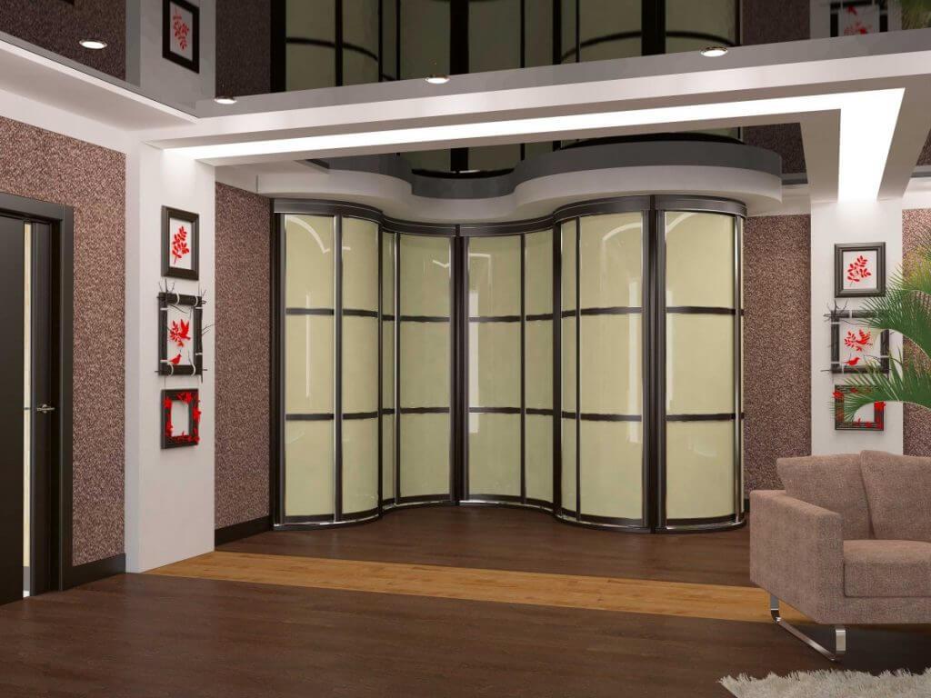 встроенный шкаф с радиусным фасадом