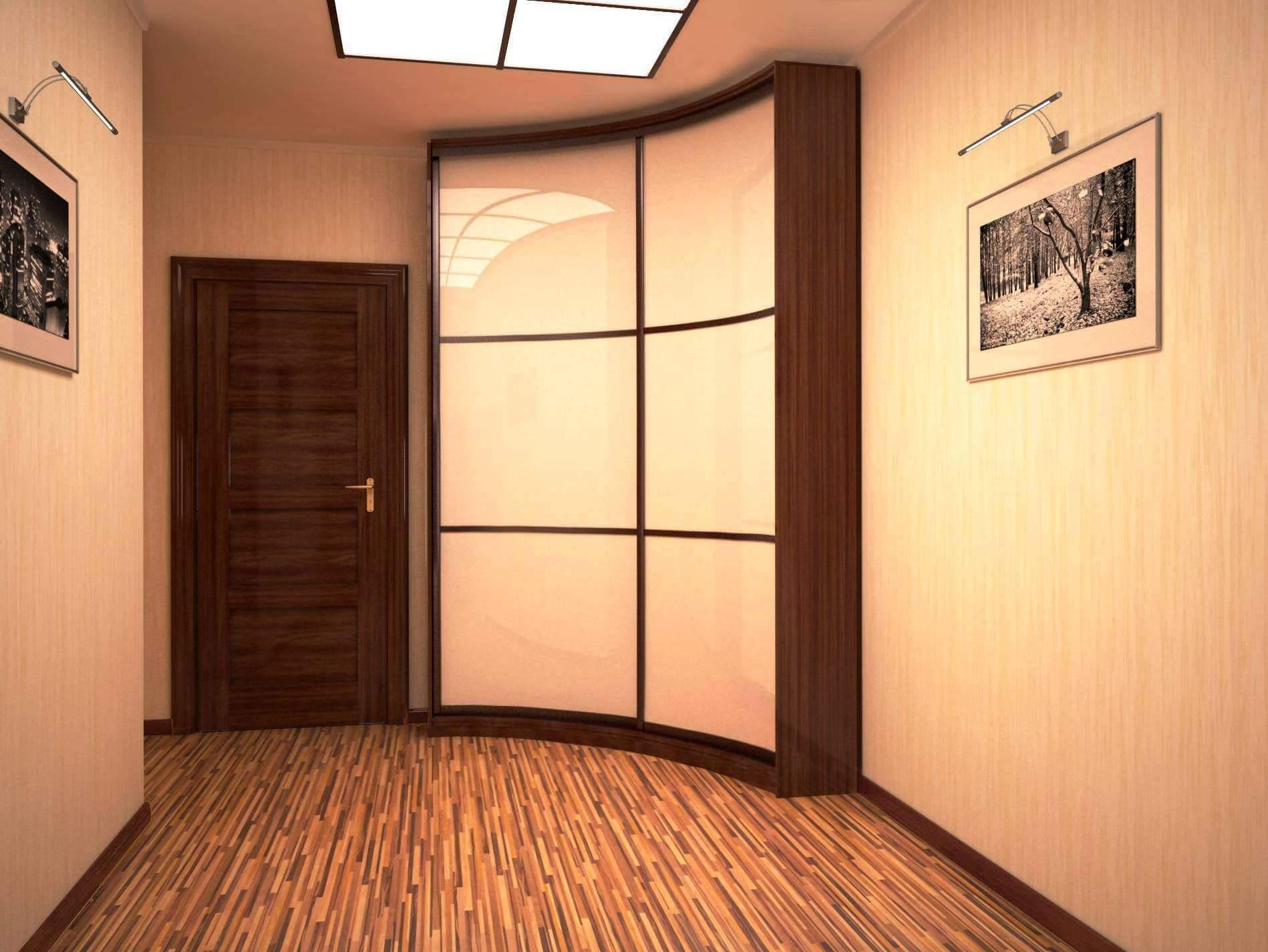 встроенный угловой шкаф с радиусным фасадом