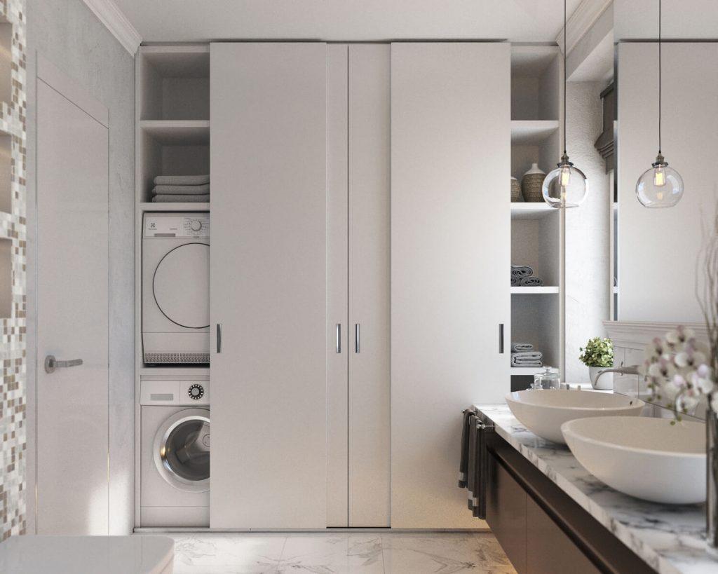 встроенный шкаф купе в ванной комнате