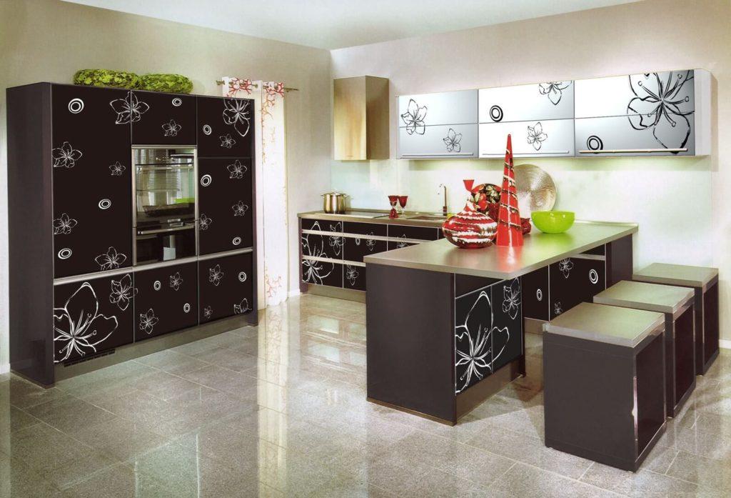 акриловая кухня с узорами