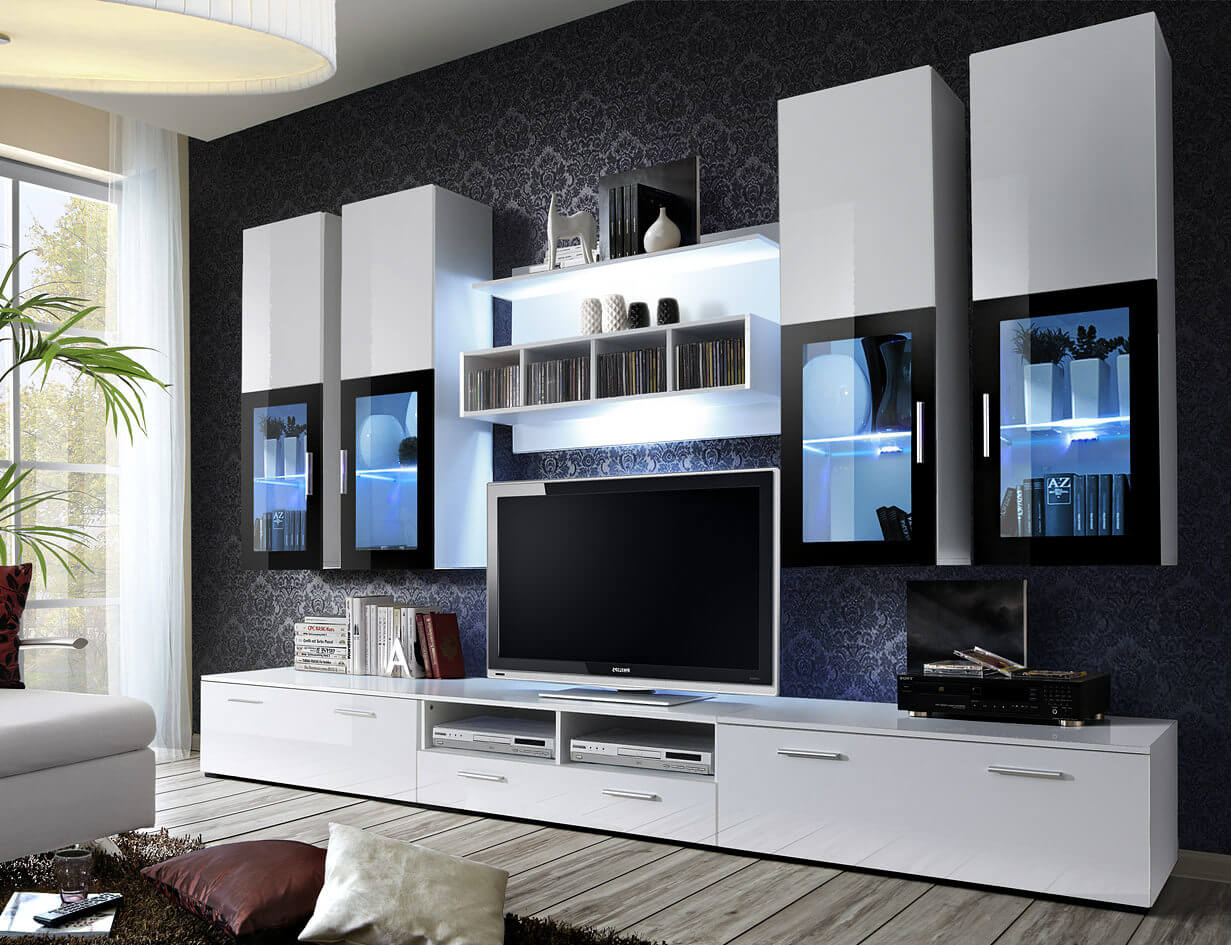 стильная современная мебельная горка в гостиной