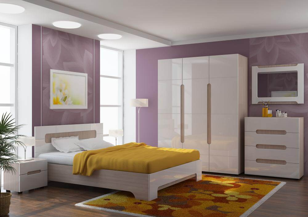 спальня с распашным шкафом в интерьере